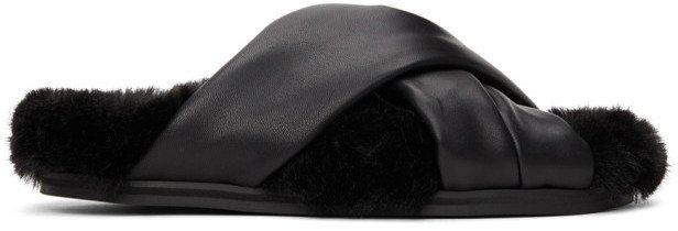 Black Faux Fur Flat Sandals