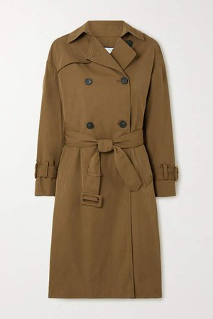 Belted Gabardine Trench Coat - Army green