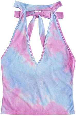 SweatyRocks Women's Casual Sleeveless Cut Out Front Knotted Tie Dye Halter Tank Top Purple Blue Large at Amazon Women's Clothing store