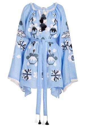 Astrid Embroidered Linen Mini Dress Gr. M