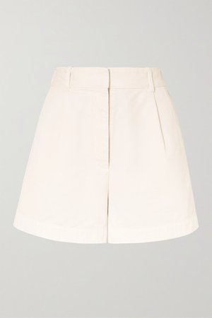 Talyn Cotton-gabardine Shorts - Cream