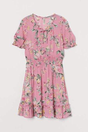 Short Flounced Dress - Pink