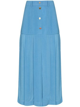 Shop blue Rejina Pyo high-waist pleated midi skirt with Express Delivery - Farfetch