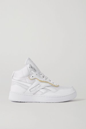 Dual Court Mesh And Textured-leather Sneakers - White