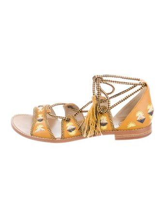 House of Harlow 1960 Embroidered Lace-Up Sandals - Shoes - WHAUS20801   The RealReal