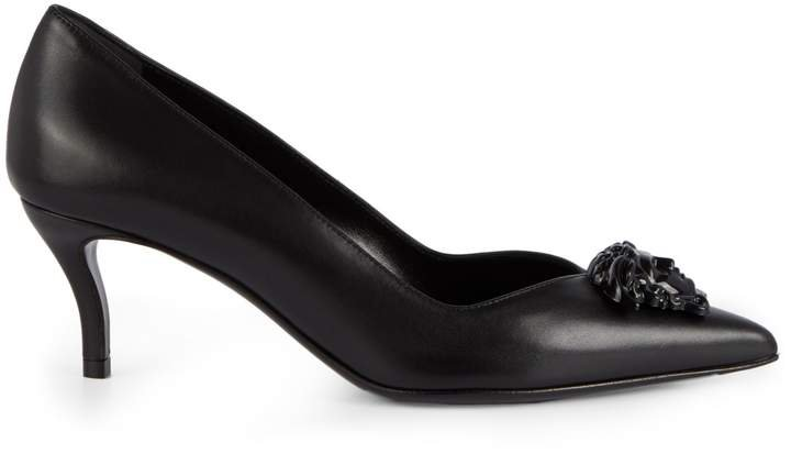Leather Kitten Heel Pumps