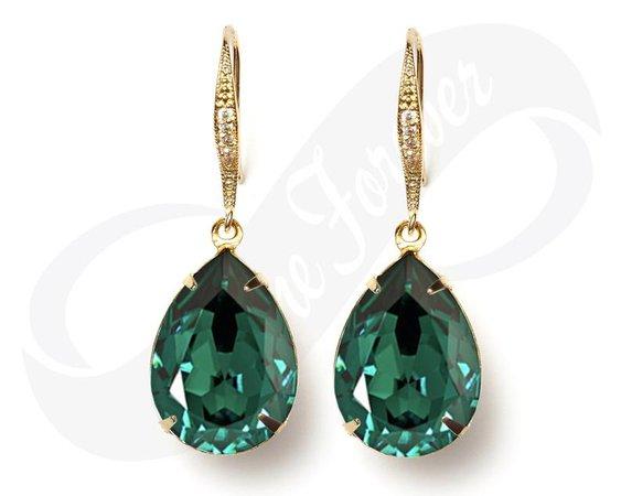 Gold Bridesmaid Earrings Emerald Earrings Green Earrings Gold | Etsy