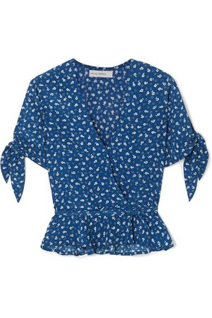 Faithfull The Brand | Lucy ruffled floral-print crepe wrap top | NET-A-PORTER.COM