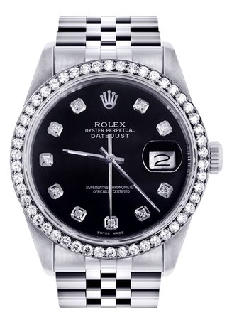 Mens Rolex Datejust Watch 16200 | 36Mm | Black Dial | Jubilee Band – FrostNYC