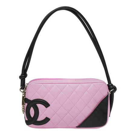 2004 Chanel Pink Ligne Cambon Quilted Pochette Bag For Sale at 1stdibs