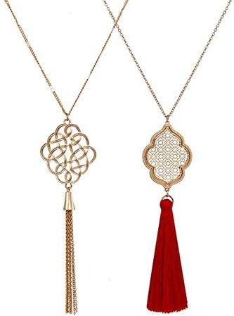 ALEXY 2Pcs Long Chain Pendant Necklace Set, Filigree Quatrefoil and Celtic Knot Pendant Tassel Y Necklaces for Women