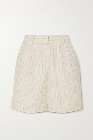 Pinstriped Linen-blend Shorts - White