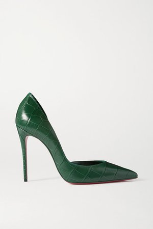 Iriza 100 Croc-effect Leather Pumps - Green