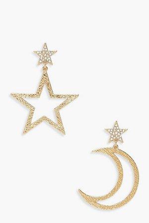 Star And Moon Statement Earrings | boohoo
