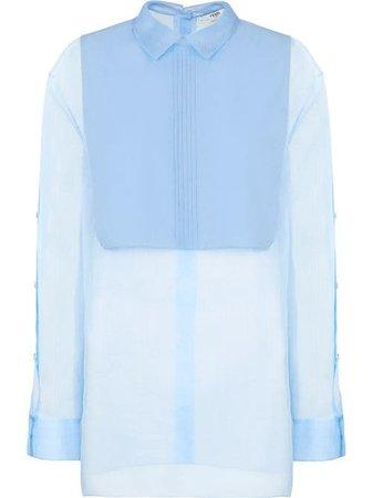 Shop blue Fendi bib-collar cotton shirt with Express Delivery - Farfetch