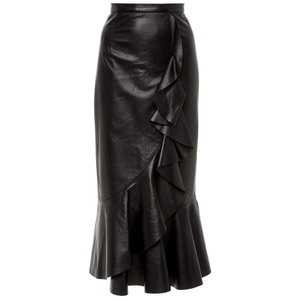 Ruffled Leather Midi Skirt