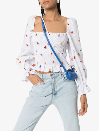 Reformation Ruched Fruit And Floral Print Top - Farfetch