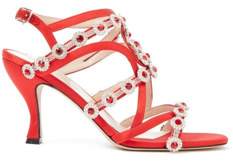 Crystal-embellished Satin Sandals - Red