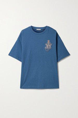 1 Jw Anderson Oversized Appliqued Cotton-jersey T-shirt - Blue