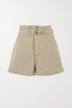 Rike Belted Cotton And Linen-blend Shorts - Beige