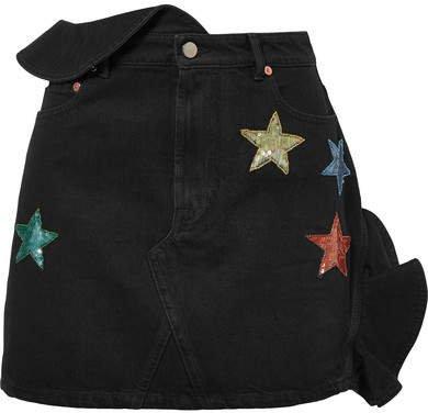 Embellished Ruffled Denim Mini Skirt - Dark denim