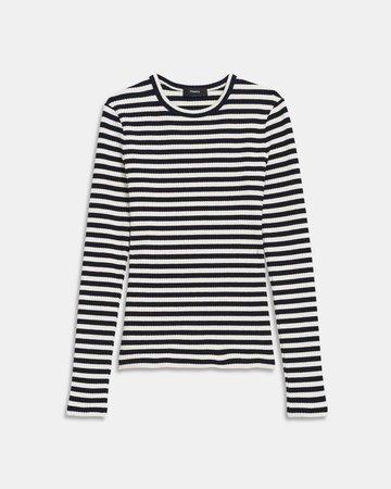 Striped Ribbed Knit Tiny Long-Sleeve Tee | Theory