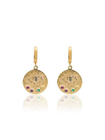 Hermina Athens Eye Coin Mini Hoop Gold-Plated Earrings | Farfetch.com