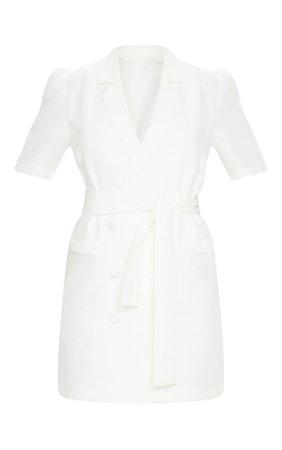 White Short Sleeve Tie Waist Blazer Dress | PrettyLittleThing USA