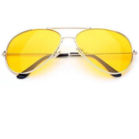 yellow frame aviator sunglasses