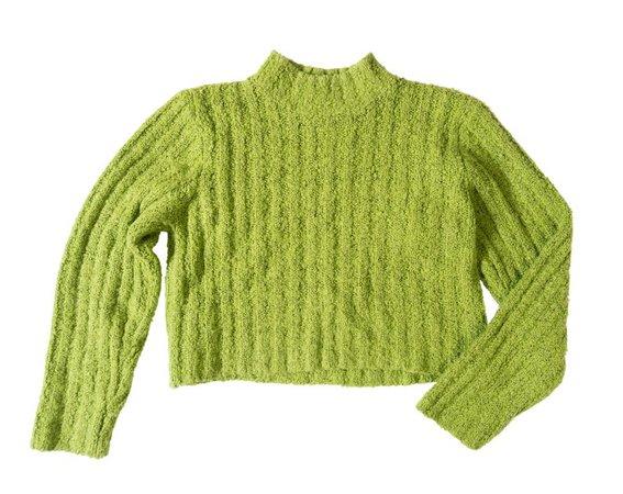 90s Y2K Lime Green Crop Top Mock Turtleneck Long Sleeve Knit | Etsy