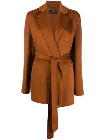 Brown Joseph short belted coat JF004881 - Farfetch