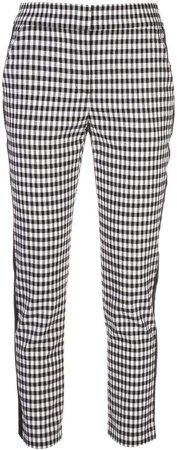 stripe detail check trousers