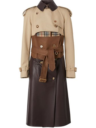 Burberry Deconstructed Cotton And Lambskin Trench Coat - Farfetch