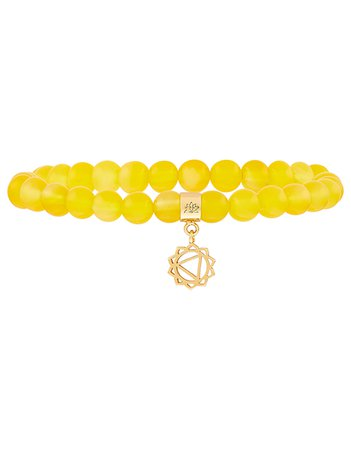 Aragonite Bead Bracelet with Solar Plexus Chakra Charm | Yellow | One Size | 8843409800 | Accessorize