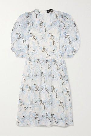 Ivory Ruffled embroidered organza midi dress | Simone Rocha | NET-A-PORTER