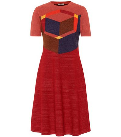 Wool-blend jacquard dress