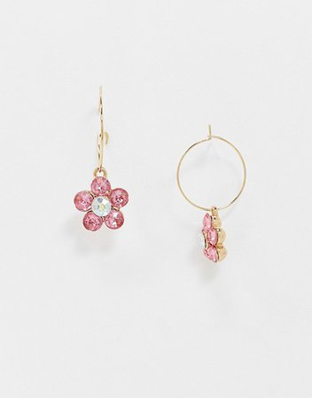 ASOS DESIGN hoop earrings with crystal flower charm in gold tone | ASOS