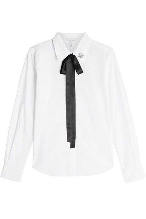 Marc Jacobs Cotton Shirt With Bow & Collar Detail in White