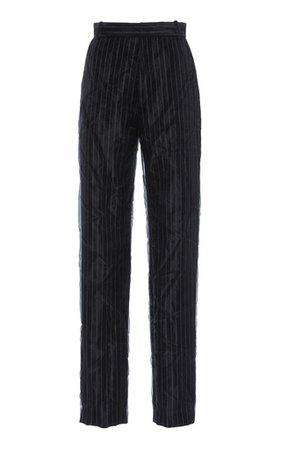 Pinstriped Organza High-rise straight-leg trousers