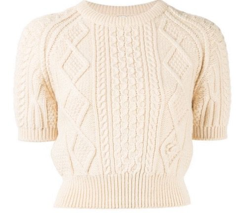 Chanel cable knit short sleeve sweater
