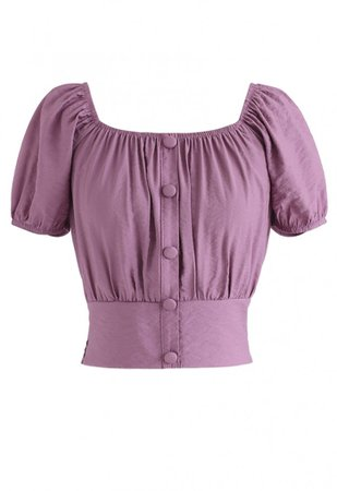 Square Neck Buttoned Front Cropped Top in Purple - NEW ARRIVALS - Retro, Indie and Unique Fashion