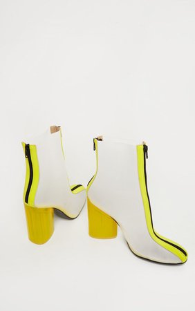 Neon Yellow Zip Front Clear Heel Ankle Boot | PrettyLittleThing