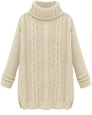 LOVEBEAUTY Women's Turtleneck Chunky Cable Knit Long Sleeve Loose Sweater Pullover Cream S at Amazon Women's Clothing store