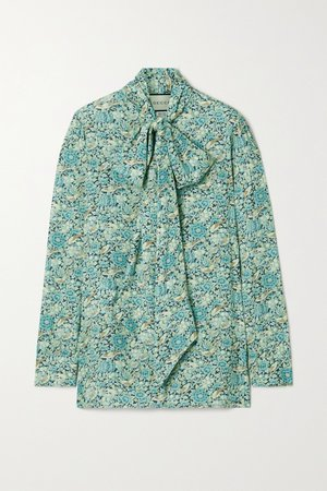 Mint Pussy-bow floral-print crepe blouse | Gucci | NET-A-PORTER