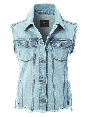 LE3NO Womens Basic Distressed Frayed Sleeveless Button Up Denim Vest with Welt Pockets | LE3NO blue