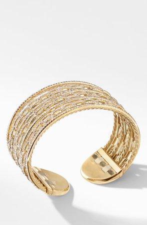 David Yurman Stax 18K Gold & Pavé Diamond Cuff Bracelet | Nordstrom