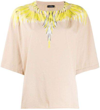 feather print cotton T-shirt