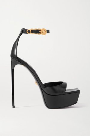 Embellished Leather Platform Sandals - Black