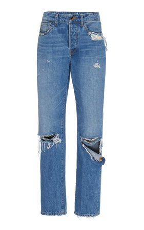 Distressed High-Rise Boyfriend Jeans by Brandon Maxwell | Moda Operandi