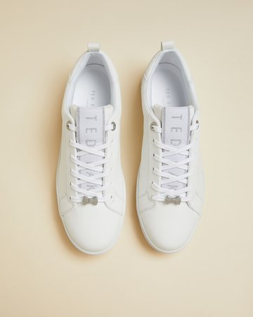 Branded leather sneakers - White | Sneakers | Ted Baker